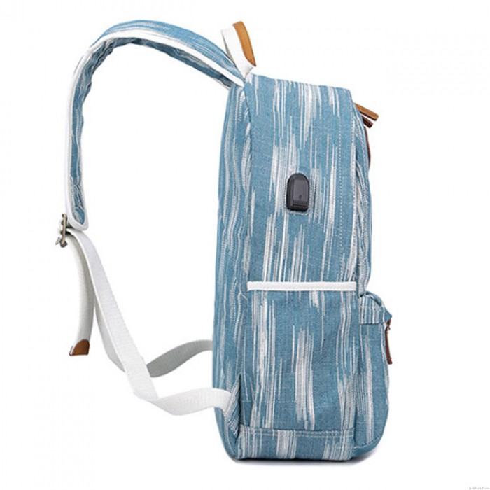 Leisure USB Interface Vertical Stripes Large School Student Canvas Backpack