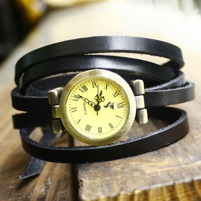 Retro Style 5 circles dial Leather Retro Watch