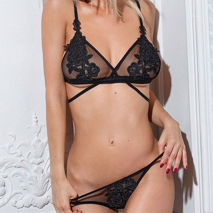 Sexy Embroidery Flower Perspective Bra Set Black Mesh Rose Women Lingerie