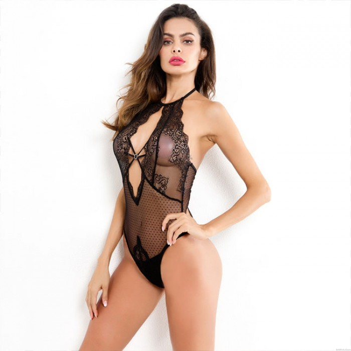 Sexy Hollow Conjoined Mesh Lace Women Intimate Lingerie