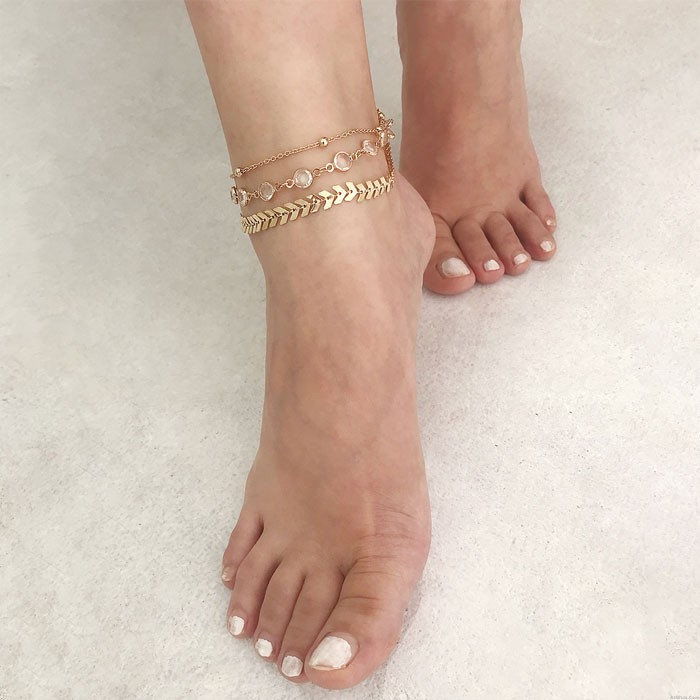 Retro Personalized Multi-layer Crystal Beach Leaves Feet Accessory Anklet