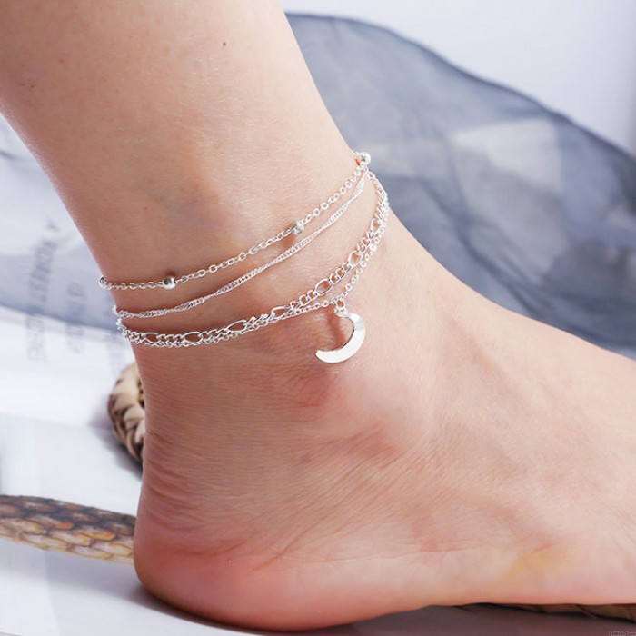 Simple Personality Multi-layer Foot Accessories Women's Moon Alloy 4 Piece Set Anklet