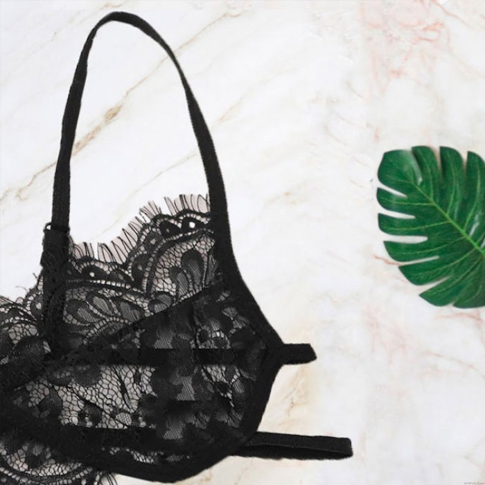 Sexy Perspective Lace Three-point Strap Bra Set Female Hollow Intimate Sling lingerie