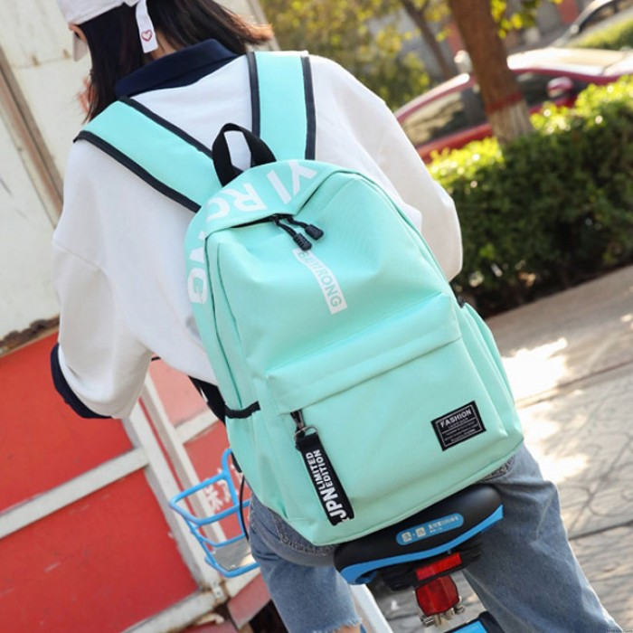 Sweet Junior High School Student Bag Large Pure Color College Backpack