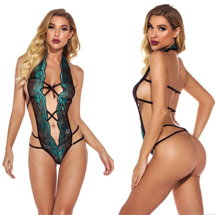 Sexy Green Teddy For Women Deep V Lace Halter Naughty Negligee One Piece Bodysuit Lover's Lingerie