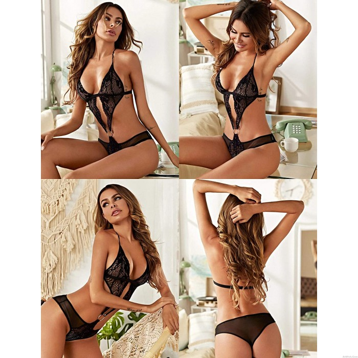 Sexy Deep V Crotchless Teddy Halter Mini Bodysuit Hollow Lace One Piece Lingerie