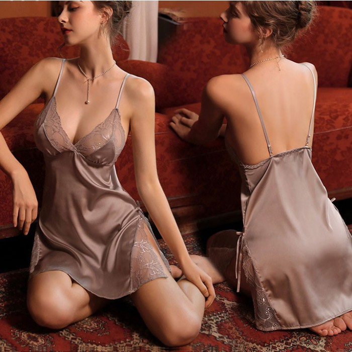 Sexy Lace Hollow Sling Lace Perspective Temptation Nightgown Backless Lingerie Pajamas Babydoll Chemise