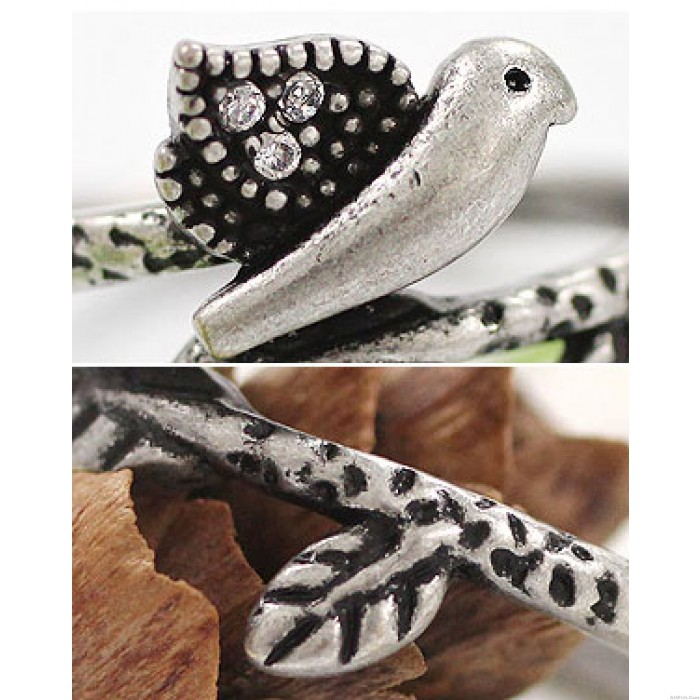 Retro Bird Ancient Silver Rhinestone Animal Ring