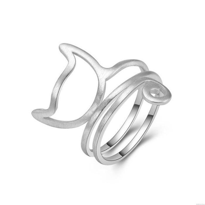 Lovely Cat Twine 3 Layer Brushed Kitty Silver Women's Open Ring