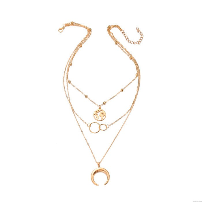 Vintage Moon Map Double Rings Metal Multilayer Clavicle Women Necklaces