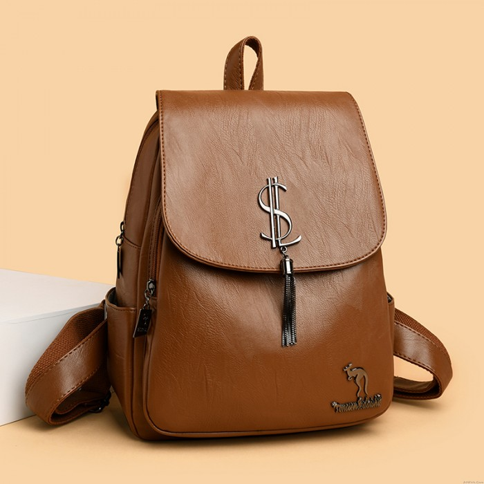 Leisure Coin Symbol Tassel Soft PU Student OL Style Backpack School Backpack