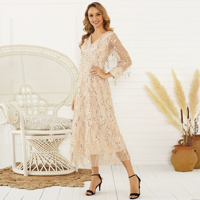 Fashion Sequin Fringe Perspective Tassel Sequined Long Sleeve Ladies Long Dress