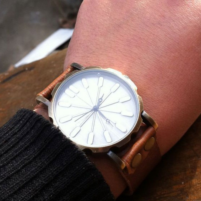 Retro Abstract Bronze Leather Watch