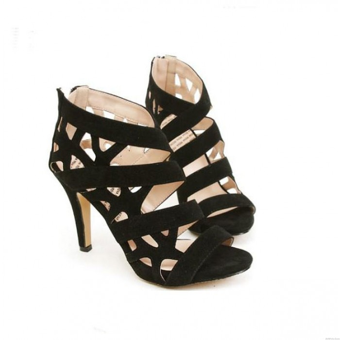 High-heeled Sandals Fish Head Hollow Waterproof Strap Shoes