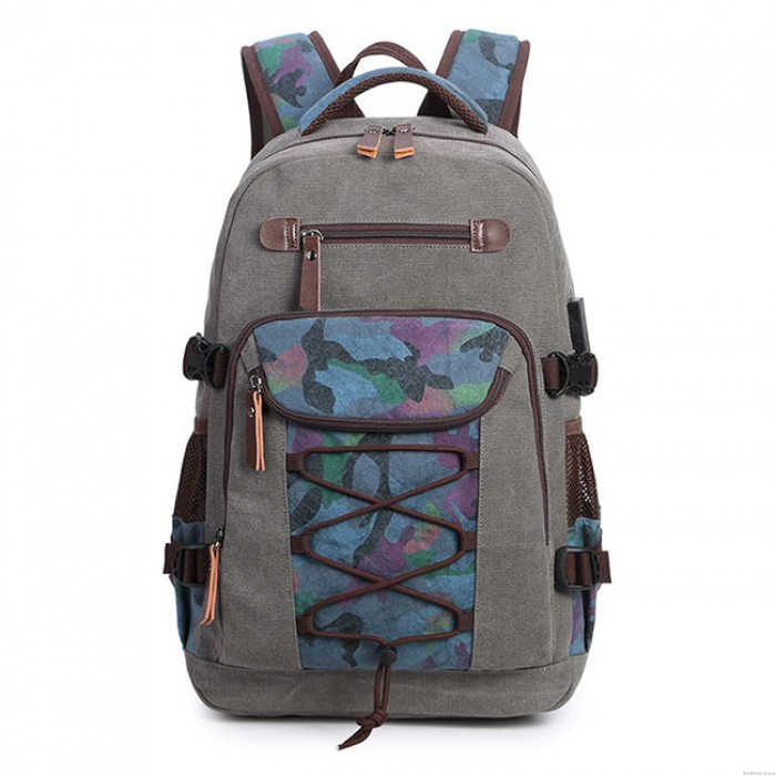 Retro Men's Camo Bandages Canvas Rucksack Outdoor Bag Travel Backpack