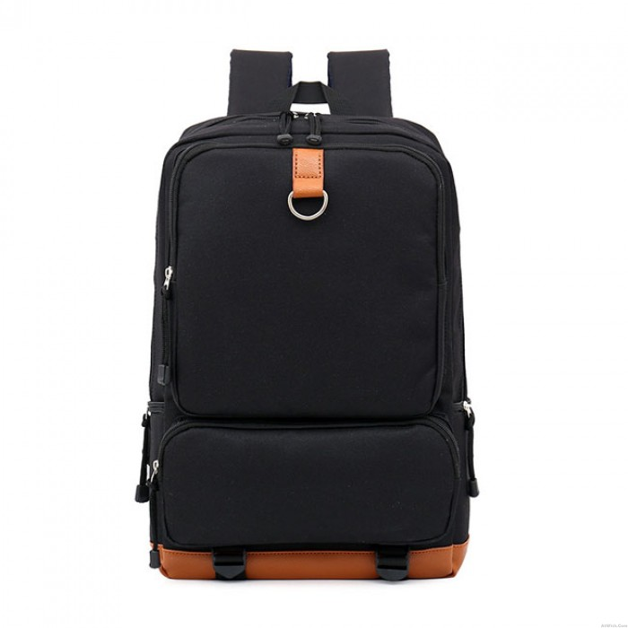 Leisure Large Pocket Square Pure Color Oxford Cloth College Backpack