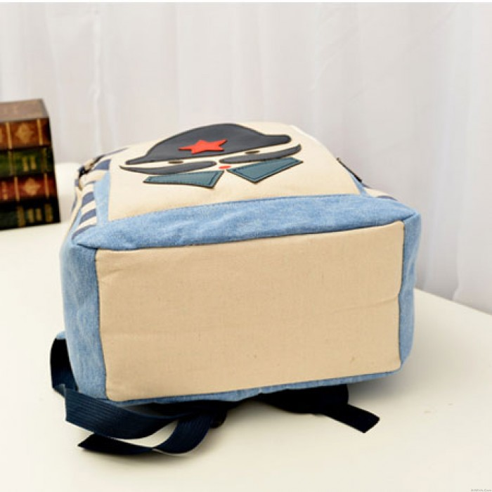 Fashion Striped Moustache Printed Canvas Backpack