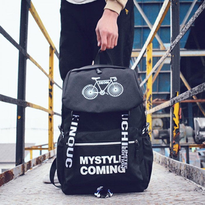 Leisure Pure Color Spider Bicycle Student Bag Travel Canvas Backpack