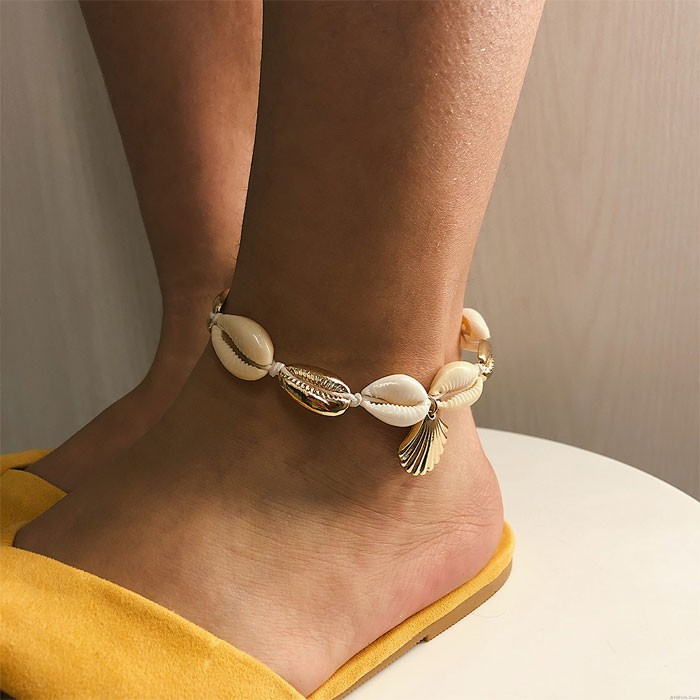 Leisure Woven Footwear Beach Handmade Ethnic Shell Alloy Scallop Anklet