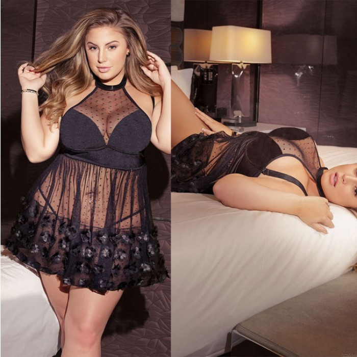 Sexy Large Size Nightdress Flower Dot Hollow Perspective Embroidery Women Lingerie
