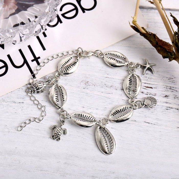 Cute Foot Accessory Beach Metal Shell Starfish Conch Anklet