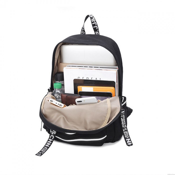 Leisure USB Interface Large Double White Stripe Waterproof Student Bag College Canvas Backpack