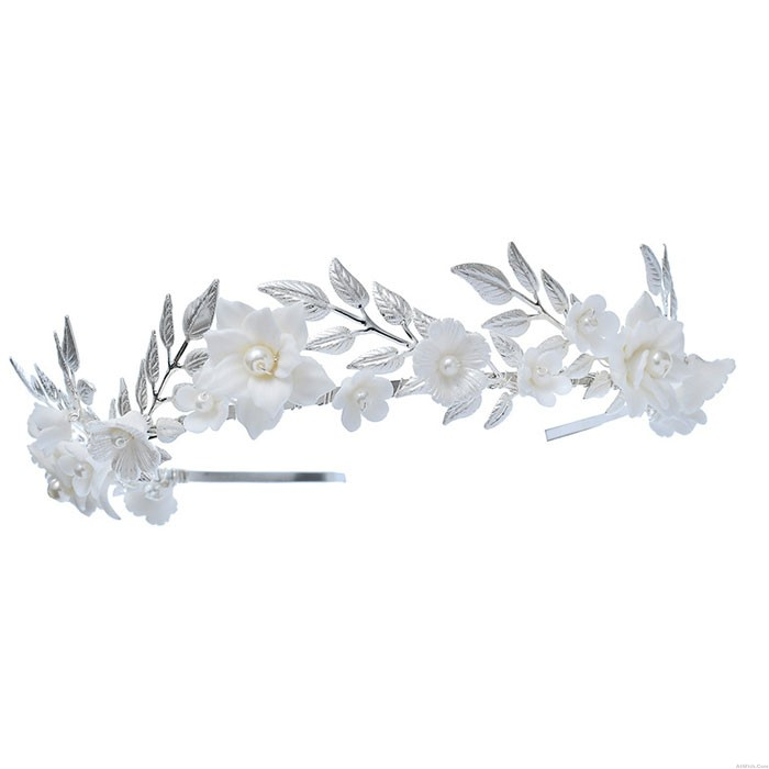 Fresh White Flower Pearl Leaves Crown Forest Style Wedding Brides Hair Accessories