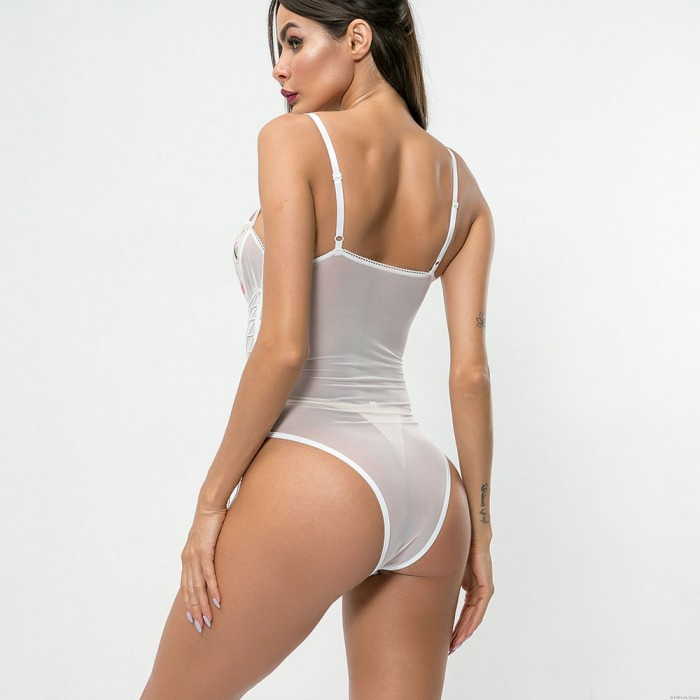 Sexy Lingerie For Women Teddy Halter Bodysuit Mesh Bandage One Piece Floral Embroidered Sheer Sleepwear