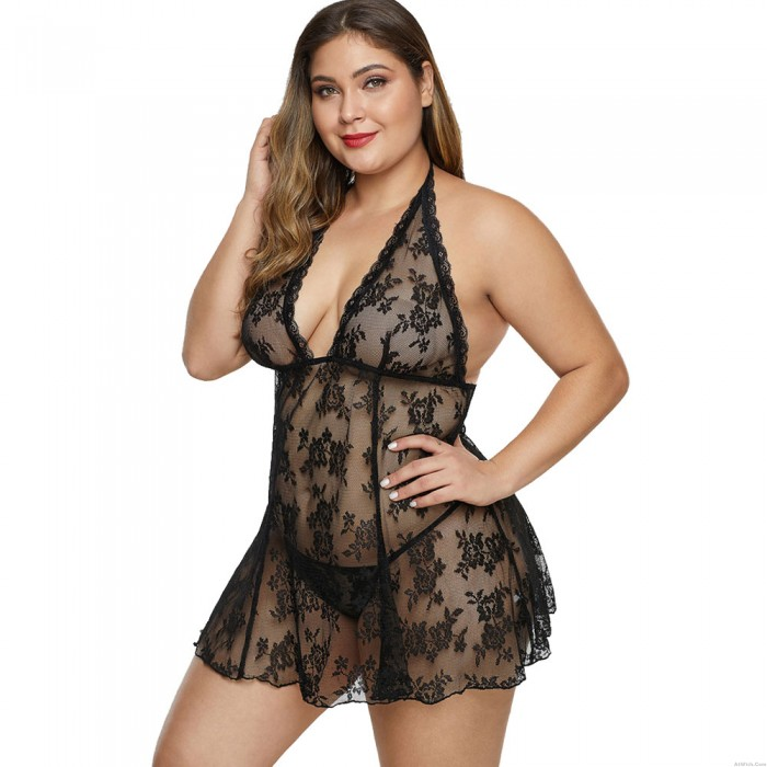 Sexy See Through Sexy V Neck Chemise Lace Mesh Floral Babydoll Halter Nightdress Plus Size Lingerie For Women