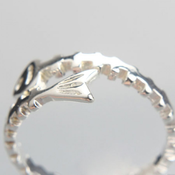 Silver Lovely Fish Bones Opening Rings Personalized Girls Rings