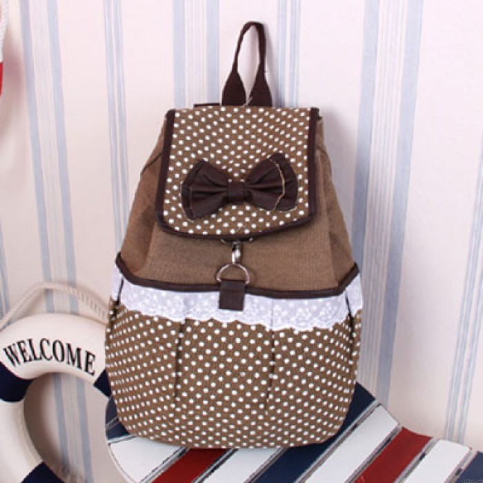 Lovely Polka-dot Bow Lace Canvas Backpack