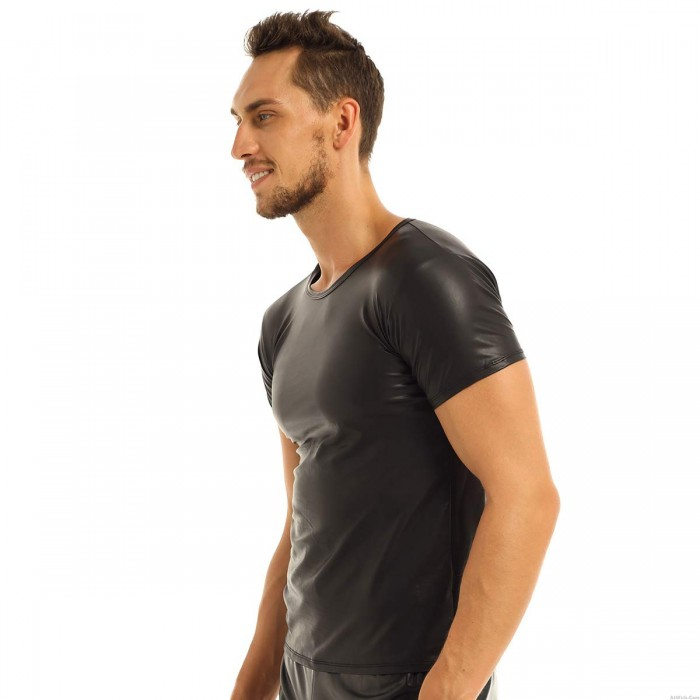 Sexy Men Black PVC Leather Muscle Tank Tops Wet Look Short Sleeve Tight T-Shirt Clubwear Lingerie