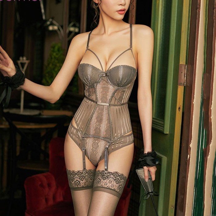 Sexy Bodysuit For Women Steel Ring Gathers Mesh Lace See-through Seductive Corset One-piece Garter Belt Teddy Lingerie