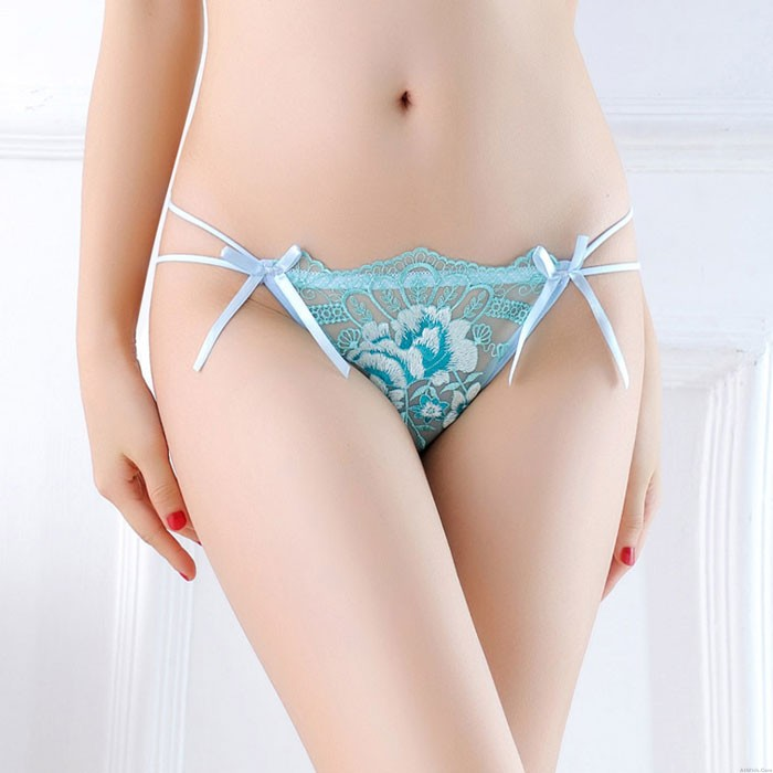 Sexy Bow Embroidery Flower Mesh Panties Low Waist Lady Underpants Women's Lingerie