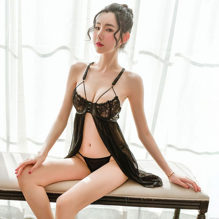 Black Mesh Babydoll For Women Front Closure Nightgown Strappy Transparent Underwire Lace Chemise Lingerie