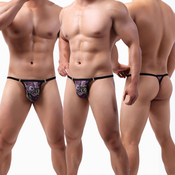 Sexy Colorful Large Pouch Breathable Lace G-String Men's Thong Underwear Low Rise Lingerie