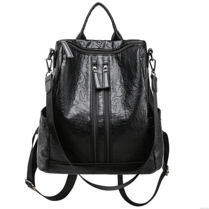 Retro Double Zippers School PU Multi-function Shoulder Bag Casual Student Backpack