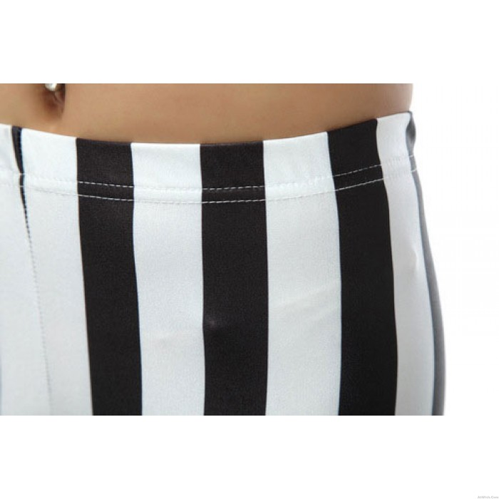 Fashion Black and White Vertical Striped Zebra Leggings