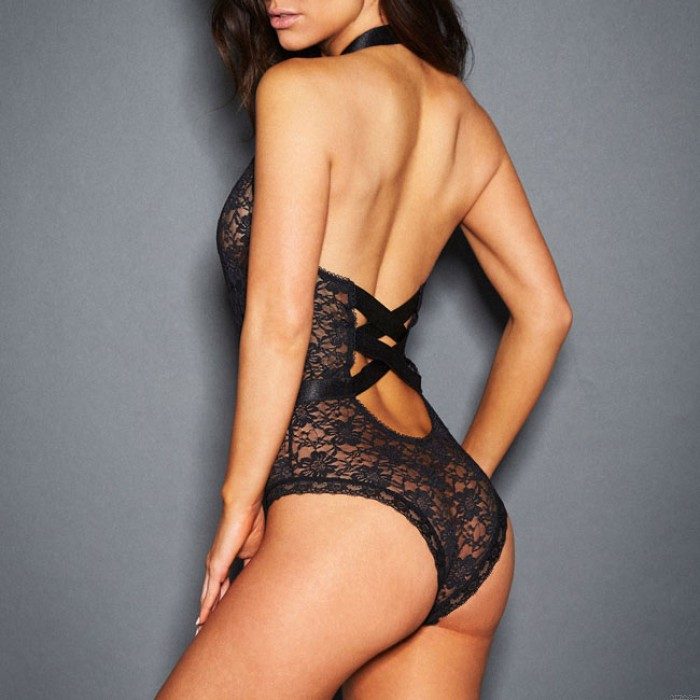 Sexy Front Hollowed-out Lace Mesh Splicing Ribbon Backless Jumpsuits Women's See Through Lingerie