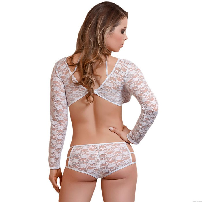 Sexy Long Sleeve Bow Bra Set High Waist Lady Hollow Lace Intimate Lingerie
