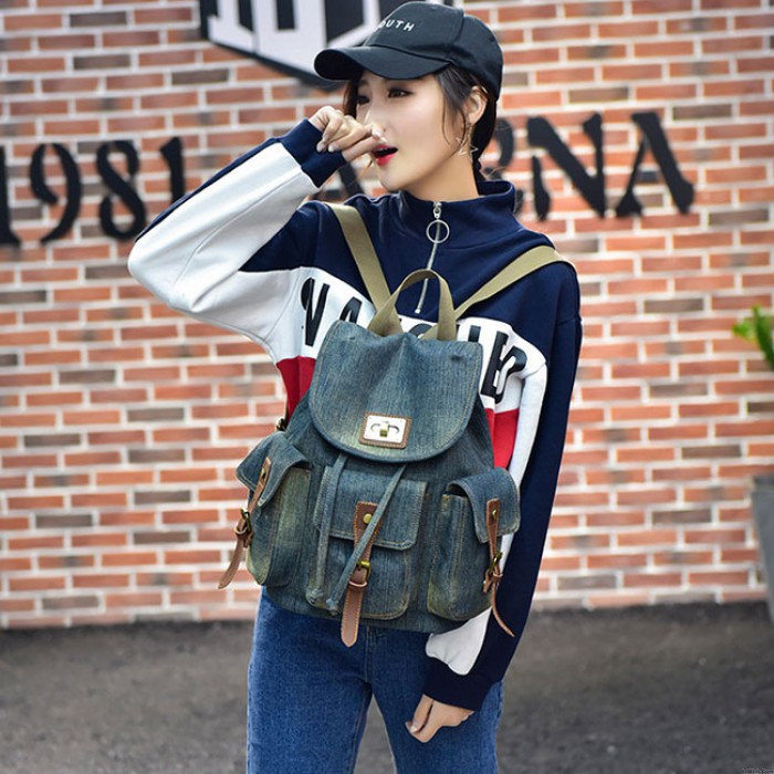 Vintage Denim Multi-pocket School Bag Leisure Travel Student Backpack