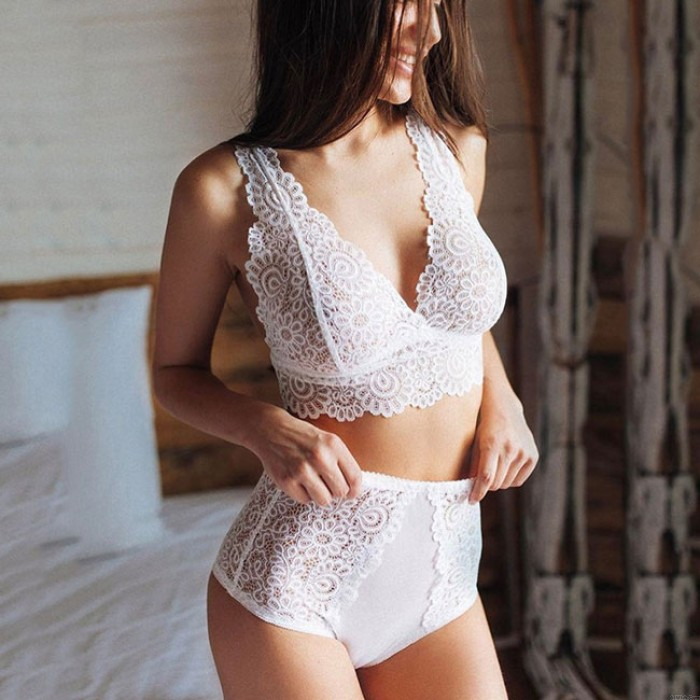 Sexy See Through 2 Pieces Women's Lingerie White Lace Sleepwear Lingerie