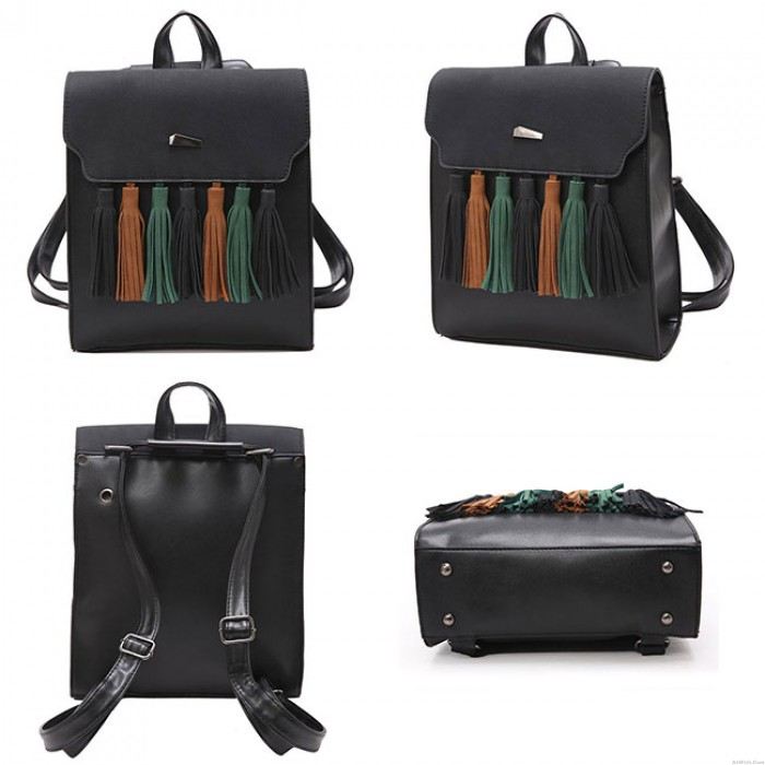 Simple British Style Tassel Contrast Color Flap PU Solid College Backpack