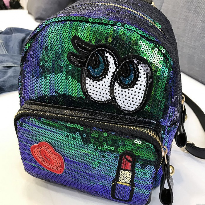 Cute Children Cartoon Eyes Small Student Sequin Backpack