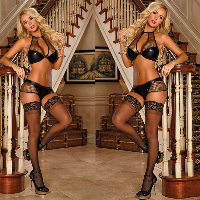 Sexy Uniform PU Tight-fitting Bra Set Fish Net Hollow Patent Leather Intimate Lingerie
