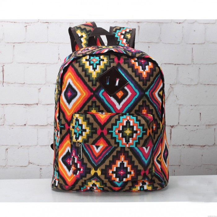 Fashion Geometry Colorful Printing College Backpack