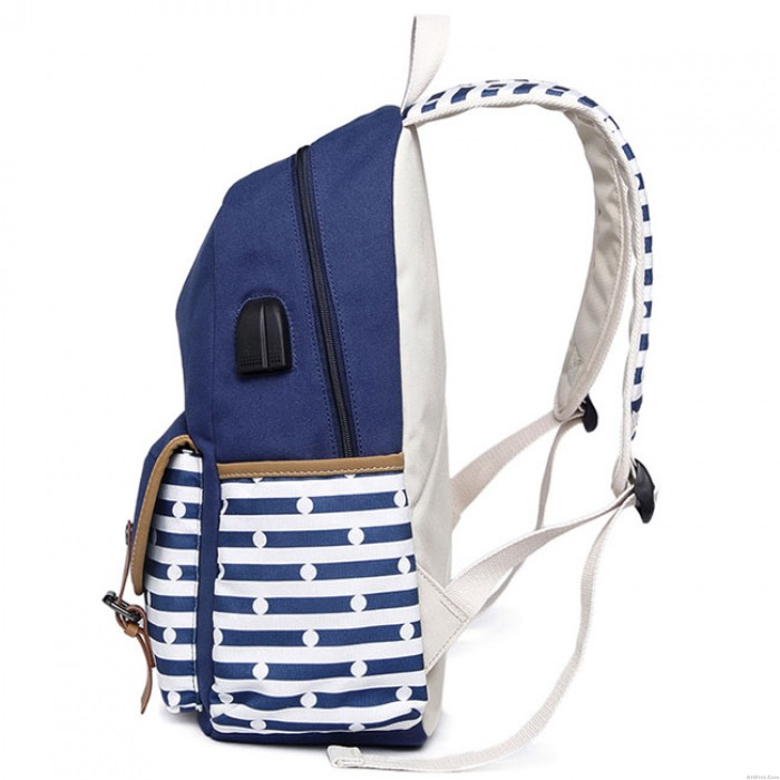New Stripe High School Bag USB Interface Dot Double Buckle  Striped College Large Canvas Backpack