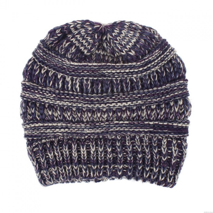 Cute Mixed Color Knit Messy Bun Soft Warm Multi-function Hairbands Winter Women Hat