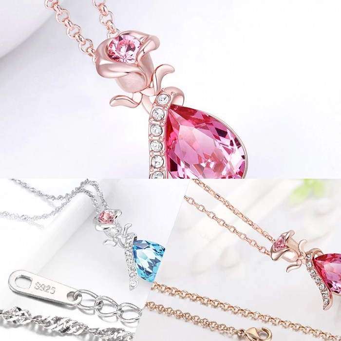 Fashion Silver Rose Crystal Necklace