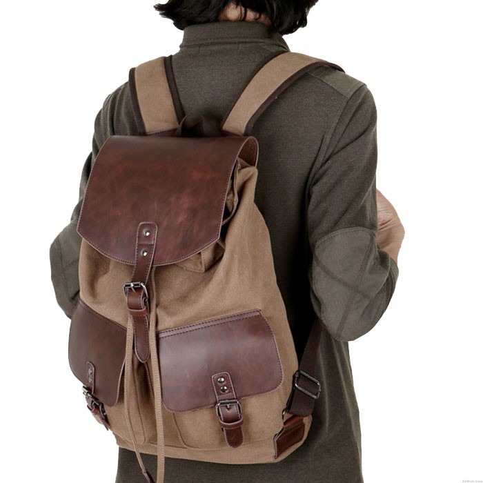 Leisure Two Pockets Outside Leather Camping Canvas Rucksack Large Capacity Outdoor Bag Travel Backpack